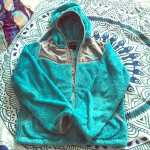 The North Face girls teal fleece size 10-12